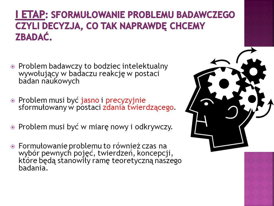 I ETAP: Sformułowanie problemu badawczego czyli decyzja, co tak naprawdę chcemy zbadać.