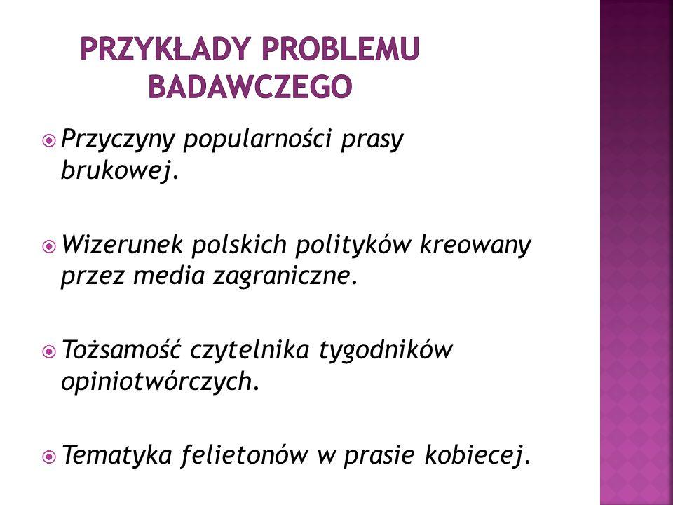Przykłady PROBLEMU BADAWCZEGO