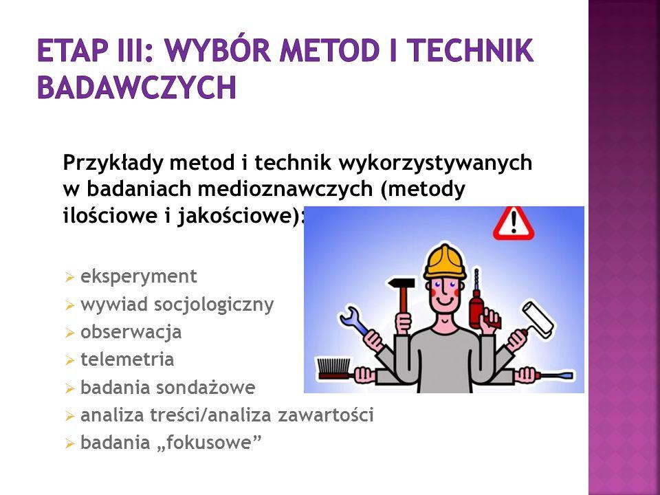 Etap III: wybór metod i technik badawczych