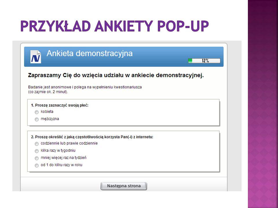 Przykład ankiety pop-up
