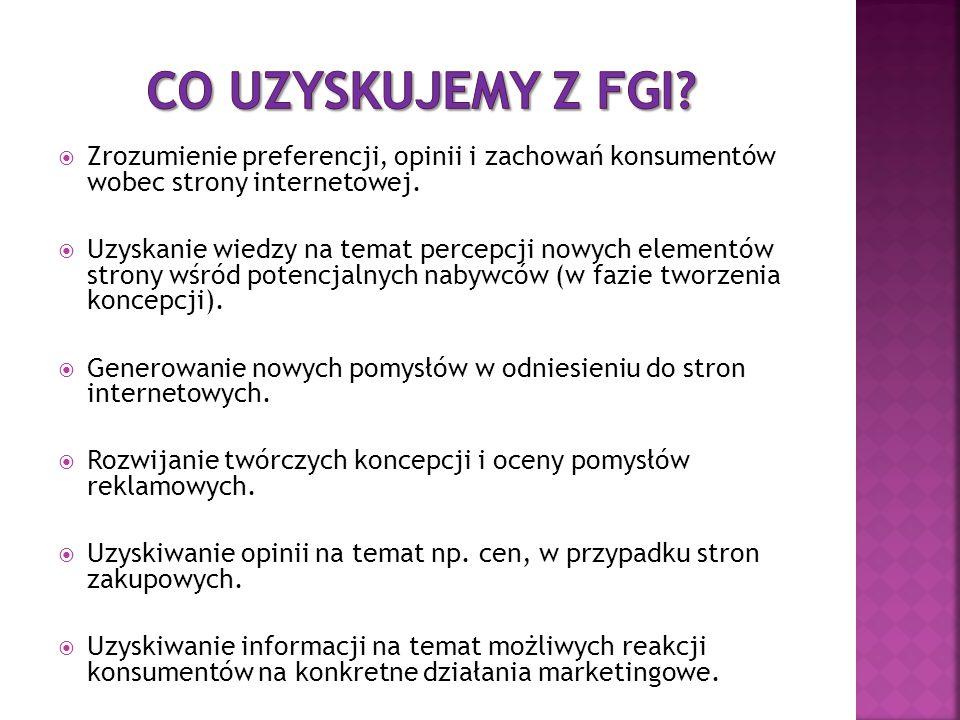 Co uzyskujemy z FGI Zrozumienie preferencji, opinii i zachowań konsumentów wobec strony internetowej.