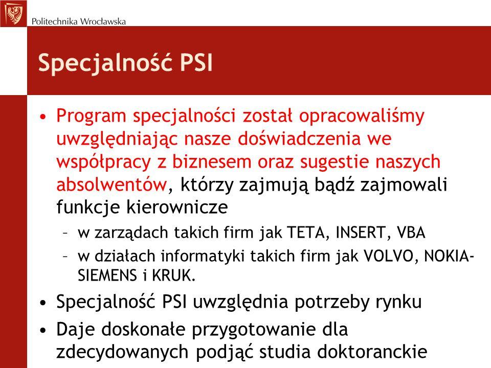 Specjalność PSI