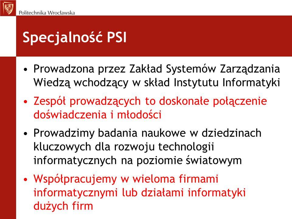 Specjalność PSI Prowadzona przez Zakład Systemów Zarządzania Wiedzą wchodzący w skład Instytutu Informatyki.