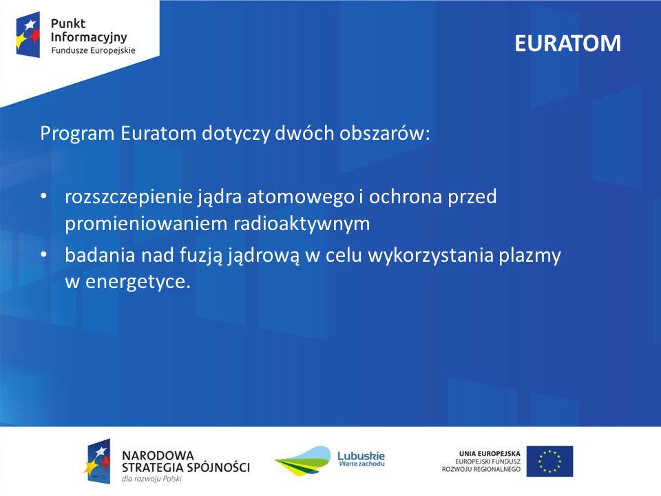 EURATOM Program Euratom dotyczy dwóch obszarów:
