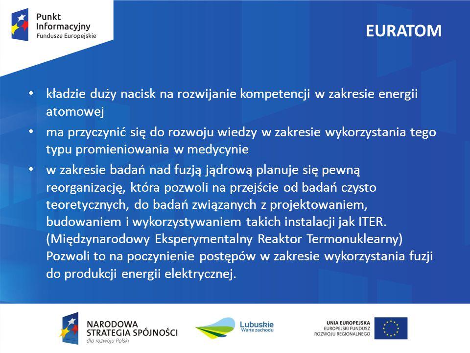 EURATOM kładzie duży nacisk na rozwijanie kompetencji w zakresie energii atomowej.