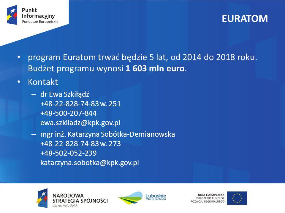 EURATOM program Euratom trwać będzie 5 lat, od 2014 do 2018 roku. Budżet programu wynosi 1 603 mln euro.