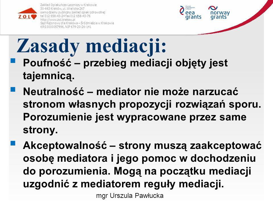 Zasady mediacji: Poufność – przebieg mediacji objęty jest tajemnicą.