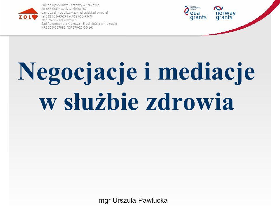 Negocjacje i mediacje w służbie zdrowia