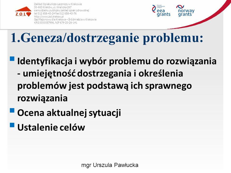 1.Geneza/dostrzeganie problemu: