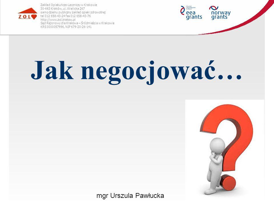Jak negocjować… mgr Urszula Pawłucka