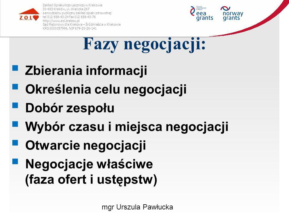 Fazy negocjacji: Zbierania informacji Określenia celu negocjacji