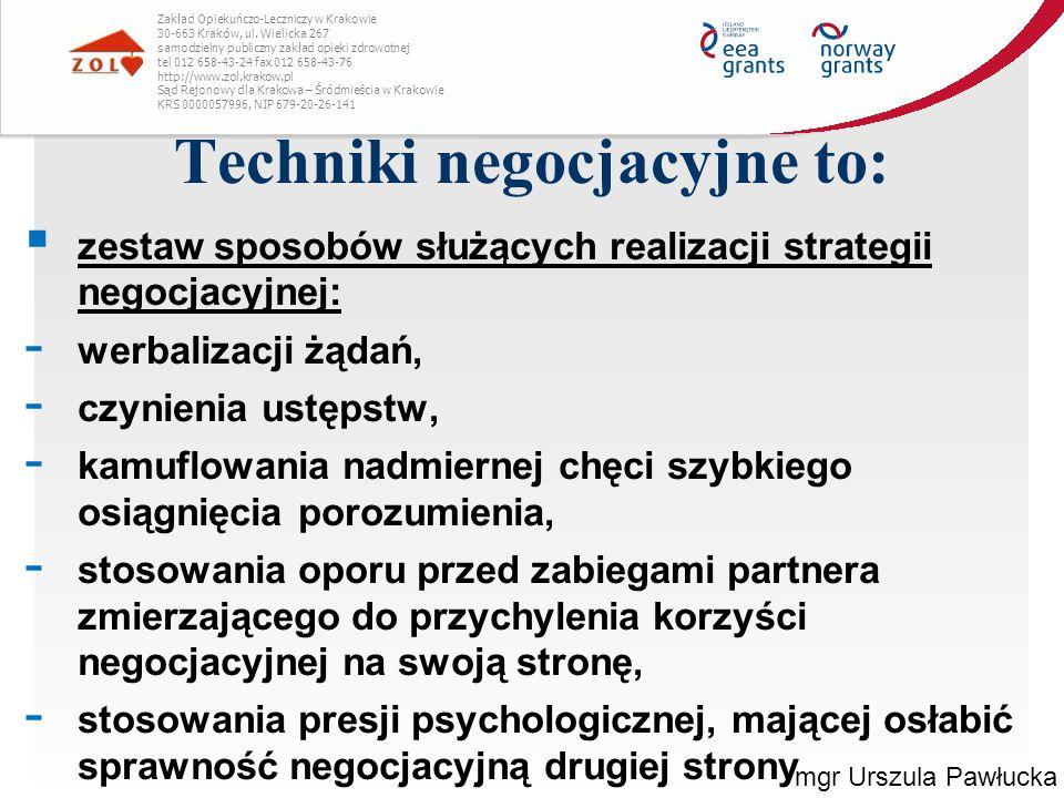 Techniki negocjacyjne to: