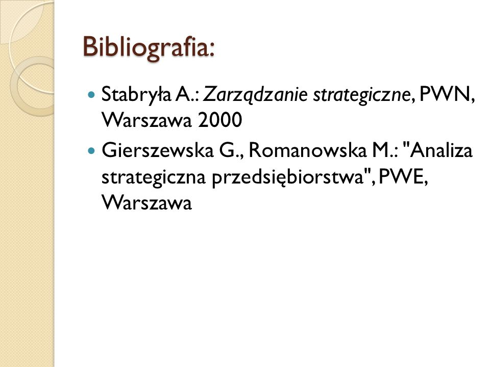 Bibliografia: Stabryła A.: Zarządzanie strategiczne, PWN, Warszawa 2000.