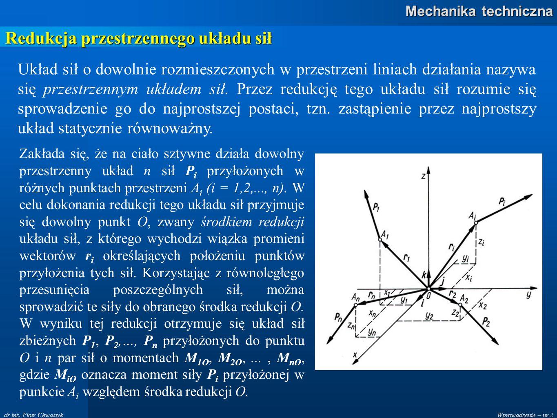 Redukcja przestrzennego układu sił