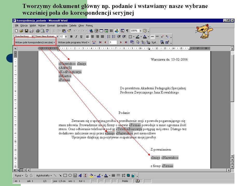 Tworzymy dokument główny np