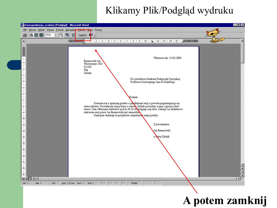 Klikamy Plik/Podgląd wydruku