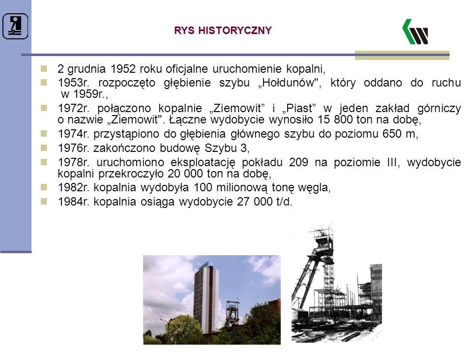 2 grudnia 1952 roku oficjalne uruchomienie kopalni,