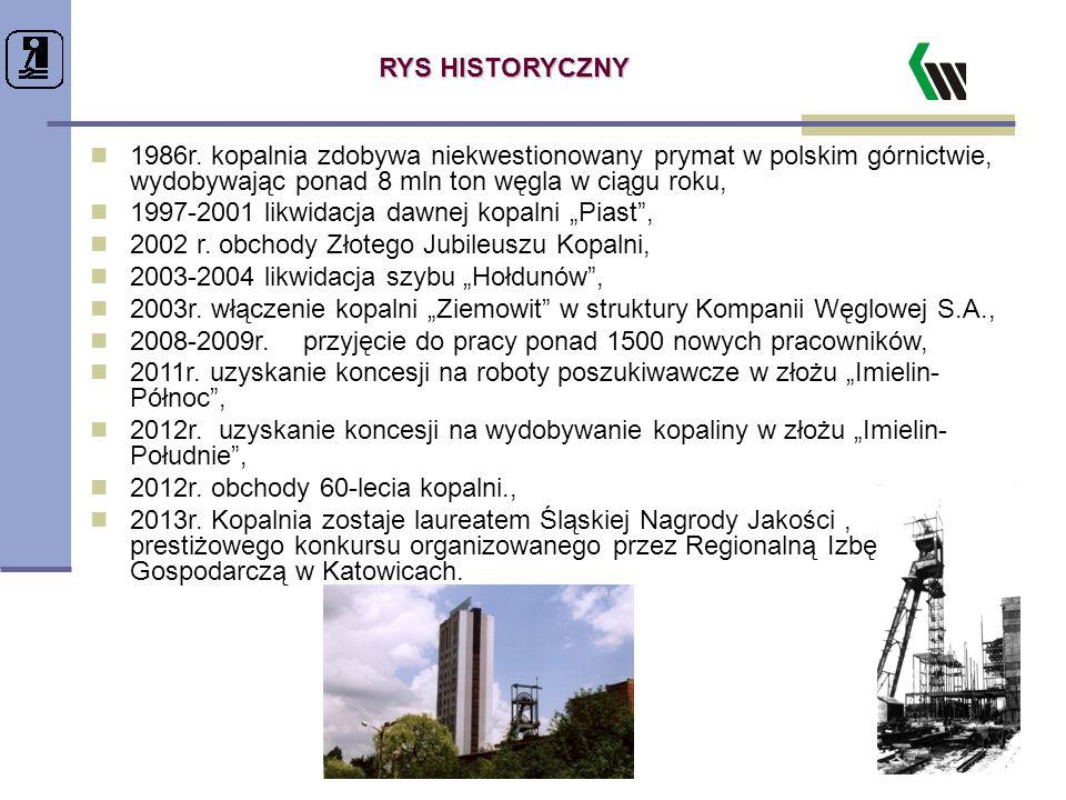 RYS HISTORYCZNY 1986r. kopalnia zdobywa niekwestionowany prymat w polskim górnictwie, wydobywając ponad 8 mln ton węgla w ciągu roku,