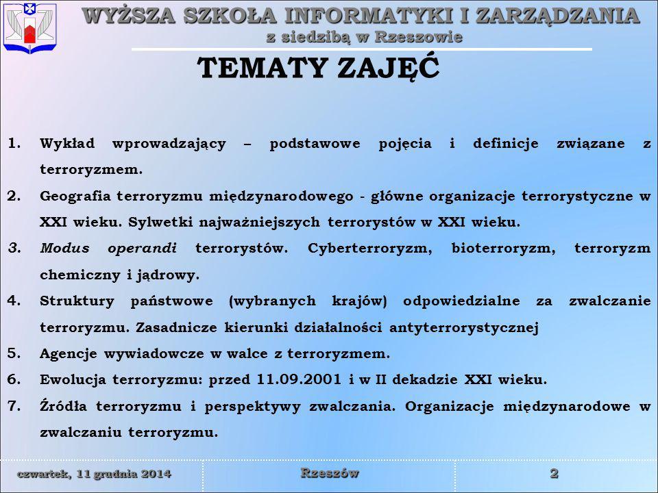 TEMATY ZAJĘĆ Wykład wprowadzający – podstawowe pojęcia i definicje związane z terroryzmem.