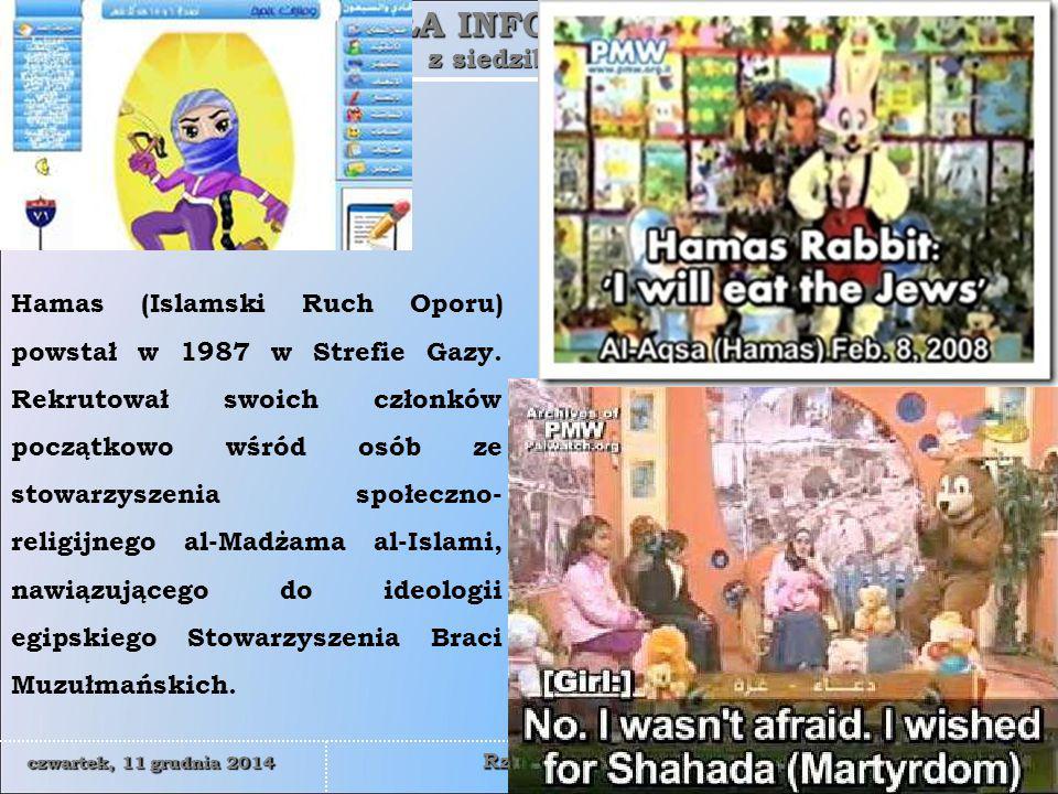 Hamas (Islamski Ruch Oporu) powstał w 1987 w Strefie Gazy