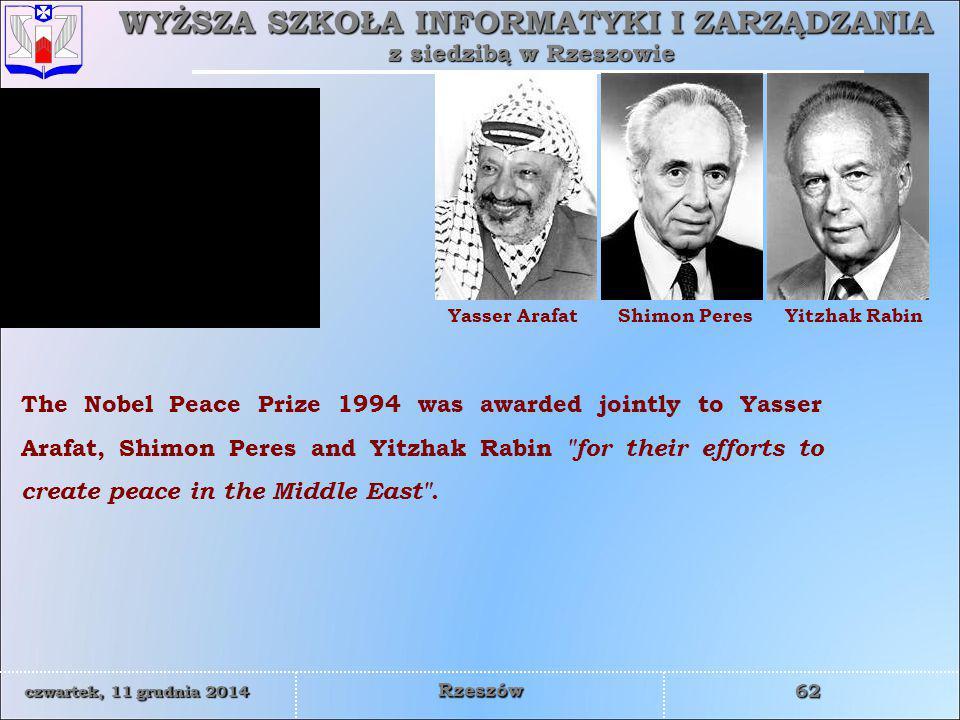 Yasser Arafat Shimon Peres. Yitzhak Rabin.