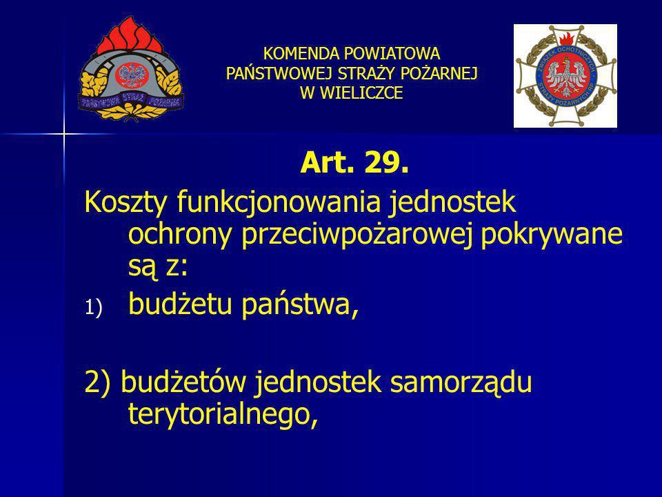 Art. 29. Koszty funkcjonowania jednostek ochrony przeciwpożarowej pokrywane są z: budżetu państwa,