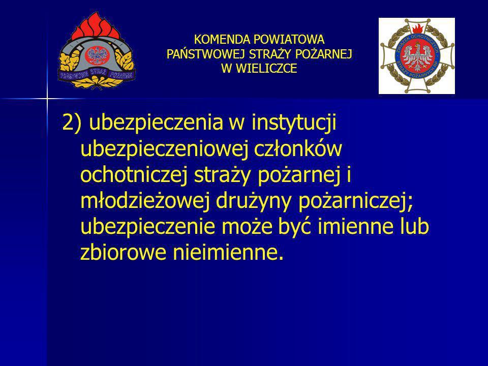 2) ubezpieczenia w instytucji ubezpieczeniowej członków ochotniczej straży pożarnej i młodzieżowej drużyny pożarniczej; ubezpieczenie może być imienne lub zbiorowe nieimienne.