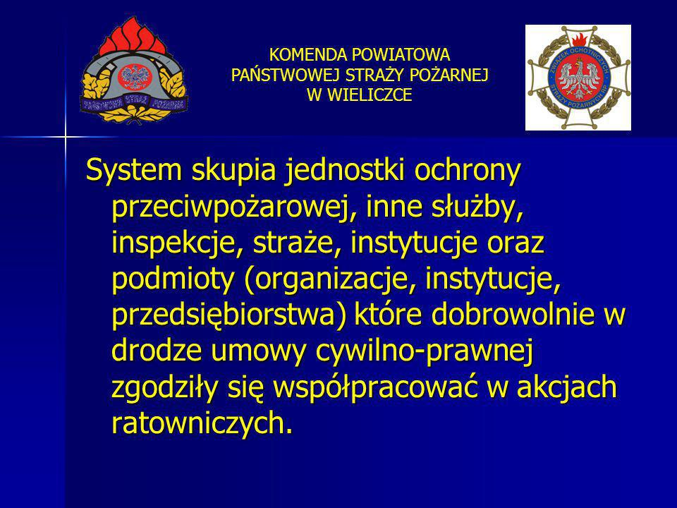 System skupia jednostki ochrony przeciwpożarowej, inne służby, inspekcje, straże, instytucje oraz podmioty (organizacje, instytucje, przedsiębiorstwa) które dobrowolnie w drodze umowy cywilno-prawnej zgodziły się współpracować w akcjach ratowniczych.