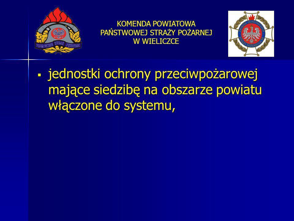jednostki ochrony przeciwpożarowej mające siedzibę na obszarze powiatu włączone do systemu,