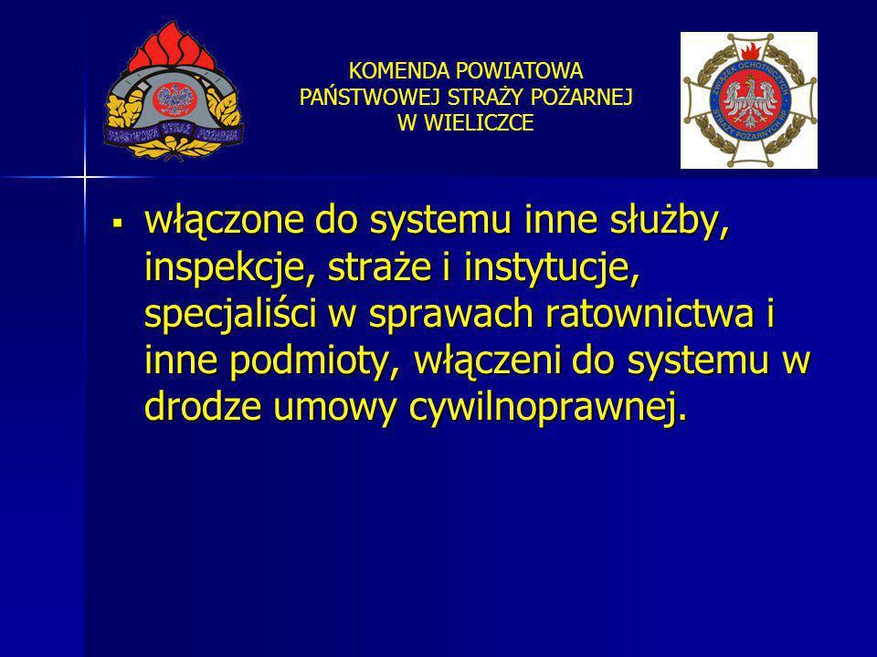 włączone do systemu inne służby, inspekcje, straże i instytucje, specjaliści w sprawach ratownictwa i inne podmioty, włączeni do systemu w drodze umowy cywilnoprawnej.