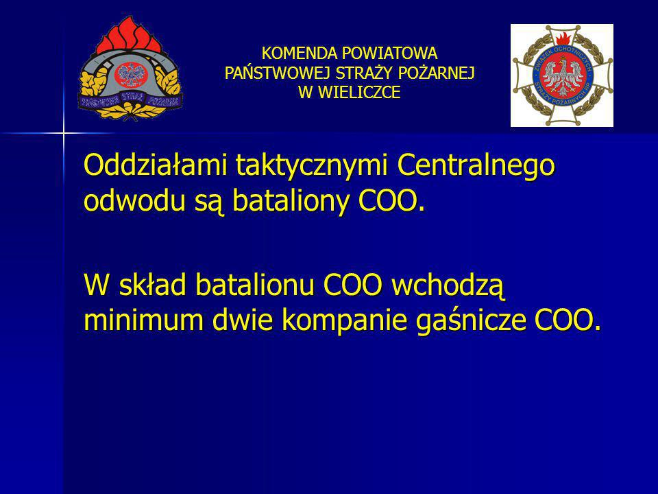 Oddziałami taktycznymi Centralnego odwodu są bataliony COO.