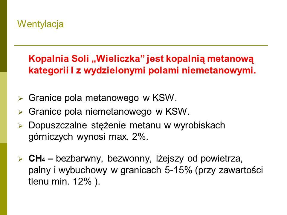 """Wentylacja Kopalnia Soli """"Wieliczka jest kopalnią metanową kategorii I z wydzielonymi polami niemetanowymi."""