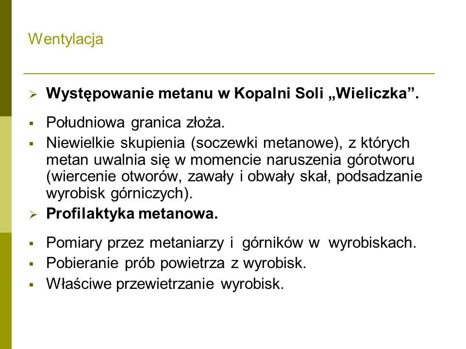 """Wentylacja Występowanie metanu w Kopalni Soli """"Wieliczka . Południowa granica złoża."""