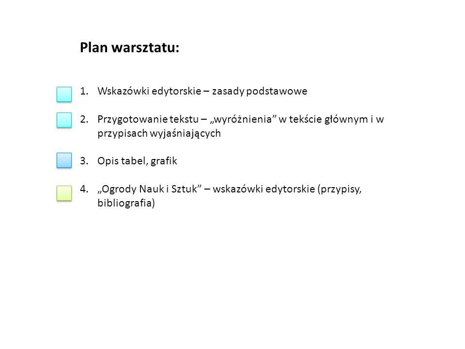 Plan warsztatu: Wskazówki edytorskie – zasady podstawowe
