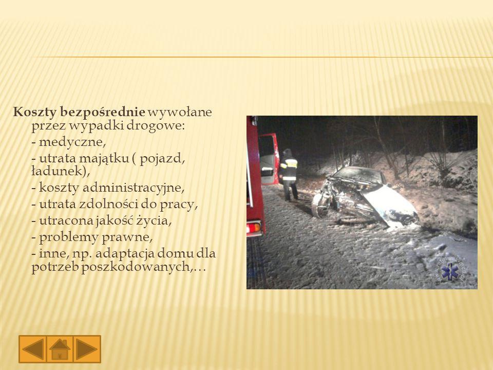 Koszty bezpośrednie wywołane przez wypadki drogowe: