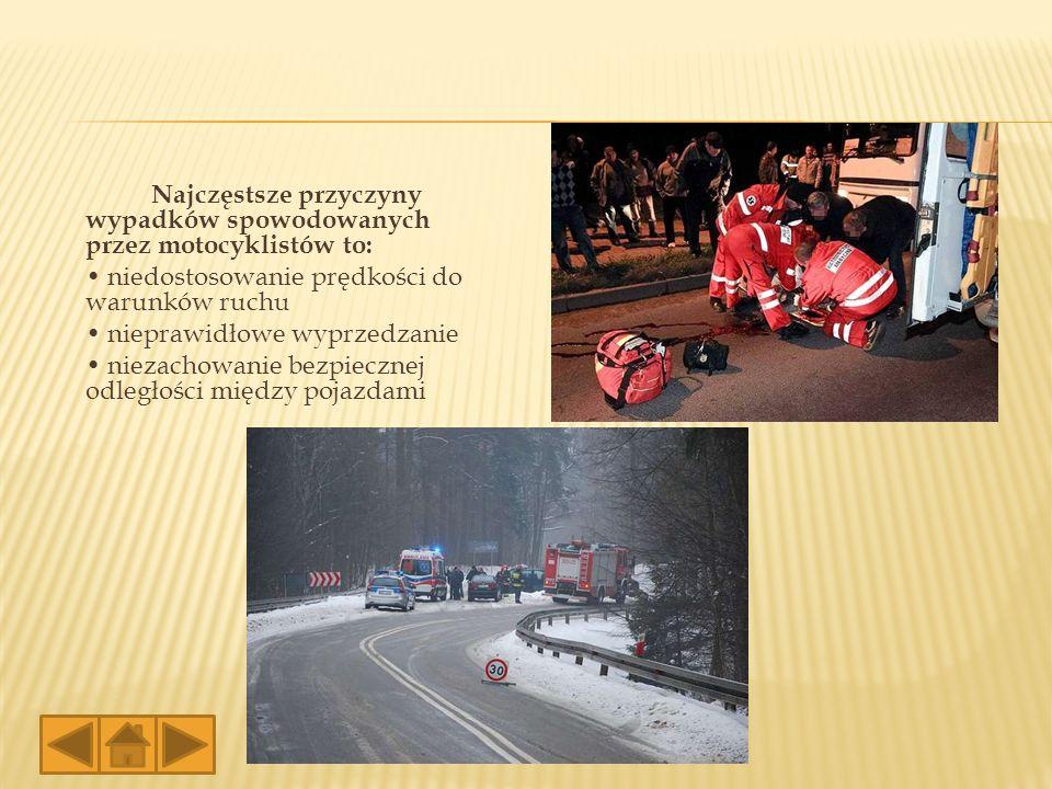 Najczęstsze przyczyny wypadków spowodowanych przez motocyklistów to: • niedostosowanie prędkości do warunków ruchu • nieprawidłowe wyprzedzanie • niezachowanie bezpiecznej odległości między pojazdami