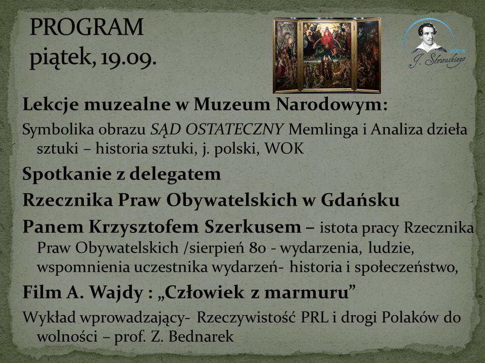 PROGRAM piątek, 19.09. Lekcje muzealne w Muzeum Narodowym: