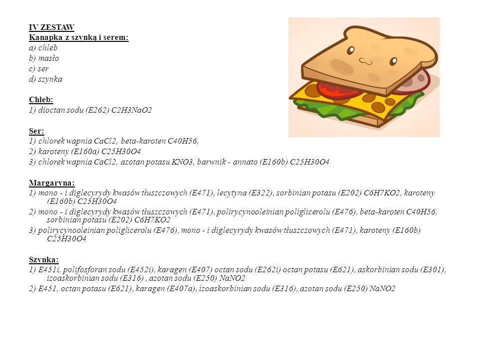 IV ZESTAW Kanapka z szynką i serem: a) chleb. b) masło. c) ser. d) szynka. Chleb: 1) dioctan sodu (E262) C2H3NaO2.