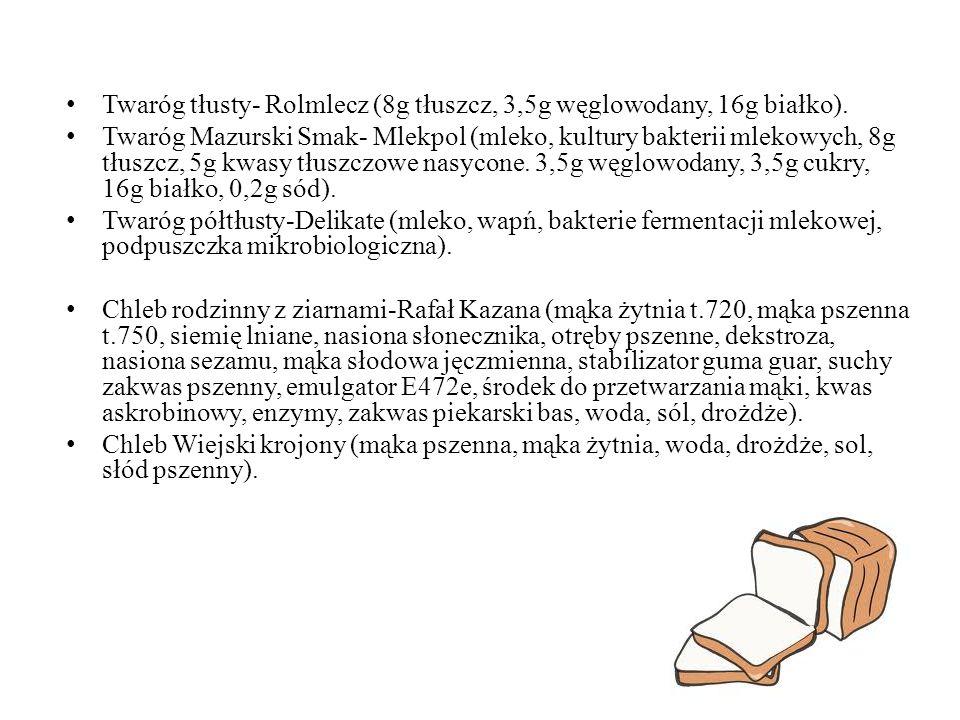 Twaróg tłusty- Rolmlecz (8g tłuszcz, 3,5g węglowodany, 16g białko).