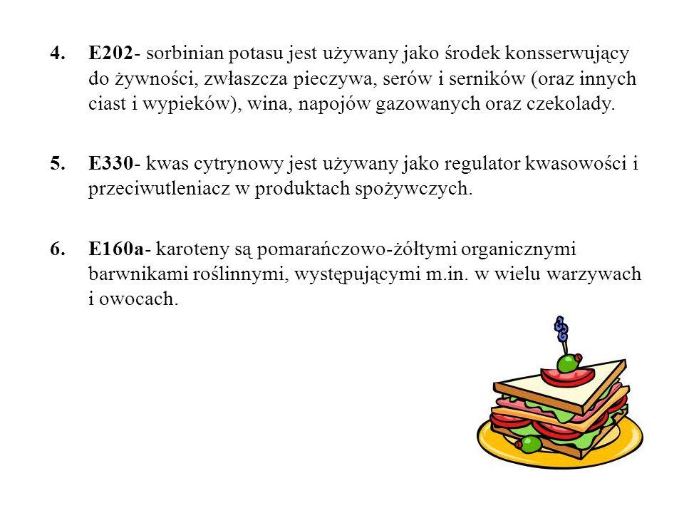 E202- sorbinian potasu jest używany jako środek konsserwujący do żywności, zwłaszcza pieczywa, serów i serników (oraz innych ciast i wypieków), wina, napojów gazowanych oraz czekolady.