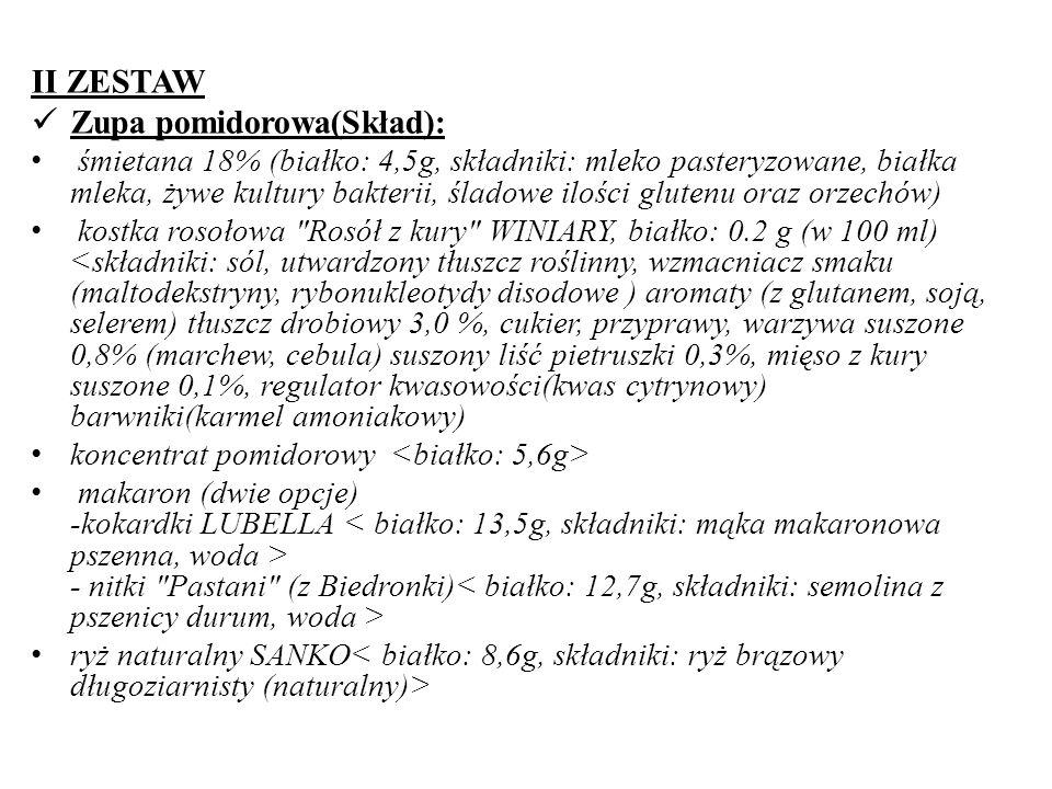 Zupa pomidorowa(Skład):