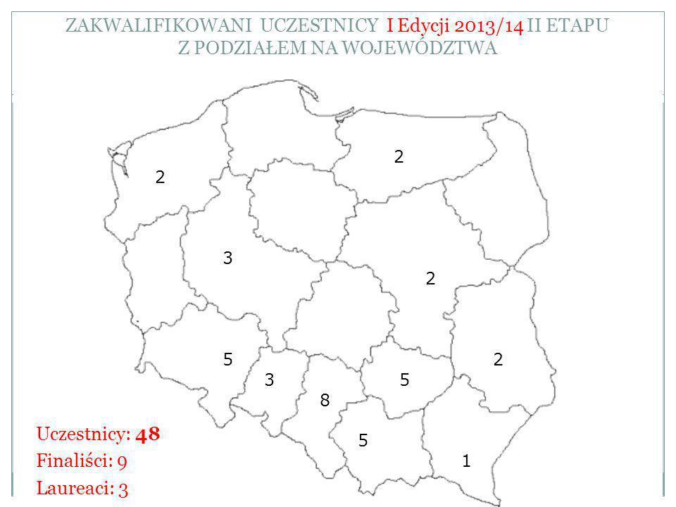 ZAKWALIFIKOWANI UCZESTNICY I Edycji 2013/14 II ETAPU Z PODZIAŁEM NA WOJEWÓDZTWA