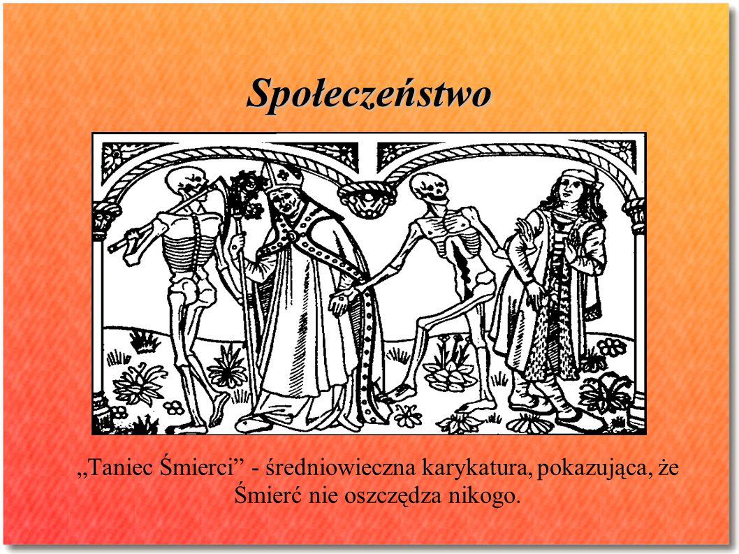 """Społeczeństwo """"Taniec Śmierci - średniowieczna karykatura, pokazująca, że Śmierć nie oszczędza nikogo."""