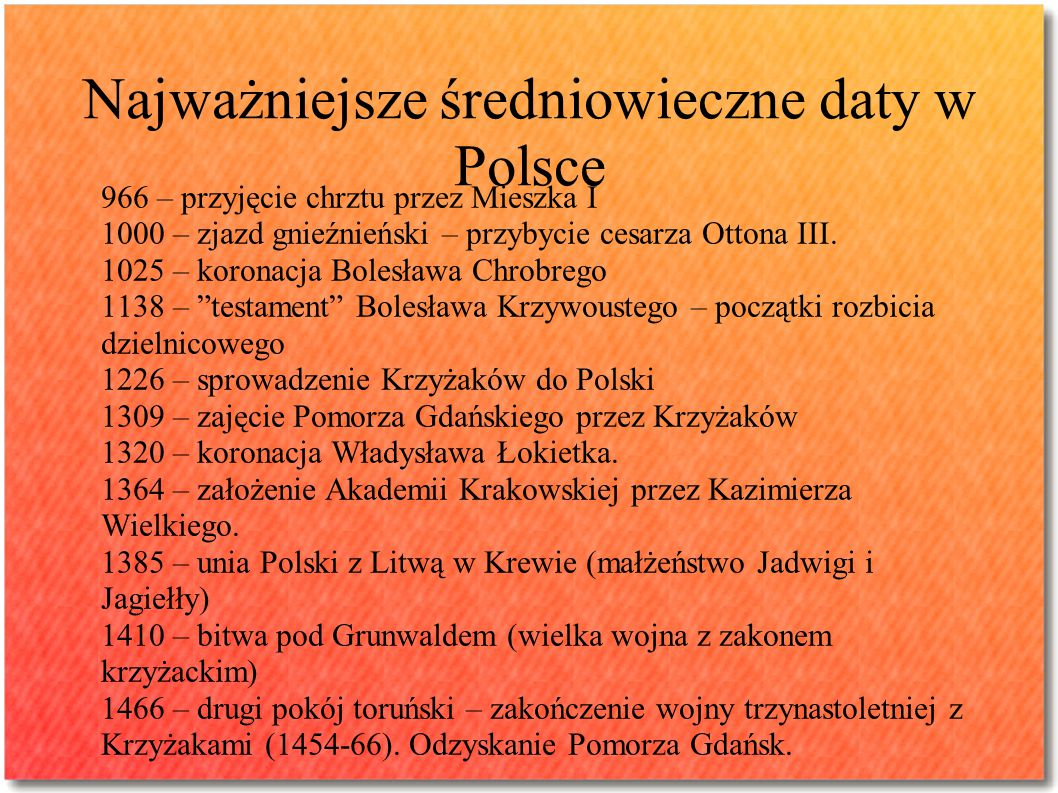 Najważniejsze średniowieczne daty w Polsce