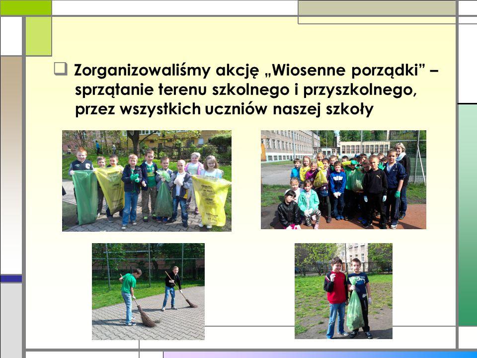 """Zorganizowaliśmy akcję """"Wiosenne porządki – sprzątanie terenu szkolnego i przyszkolnego, przez wszystkich uczniów naszej szkoły"""