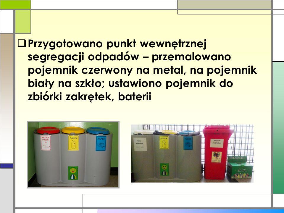Przygotowano punkt wewnętrznej segregacji odpadów – przemalowano pojemnik czerwony na metal, na pojemnik biały na szkło; ustawiono pojemnik do zbiórki zakrętek, baterii