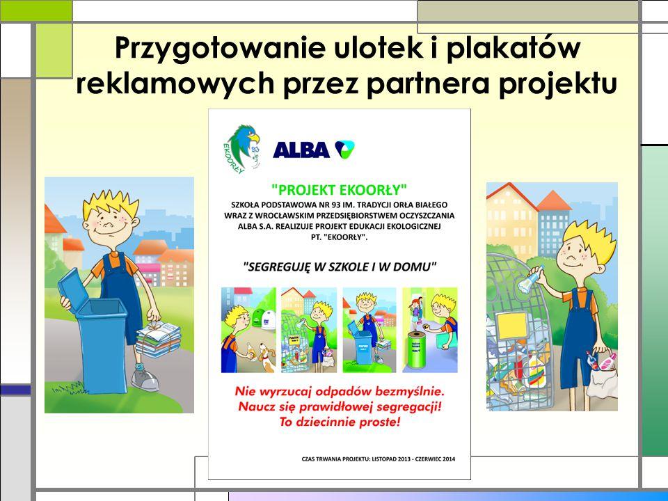Przygotowanie ulotek i plakatów reklamowych przez partnera projektu