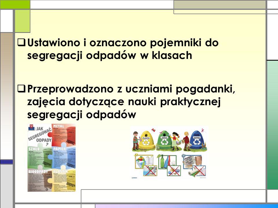 Ustawiono i oznaczono pojemniki do segregacji odpadów w klasach