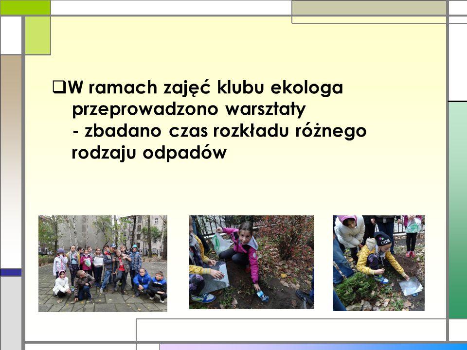 W ramach zajęć klubu ekologa przeprowadzono warsztaty - zbadano czas rozkładu różnego rodzaju odpadów