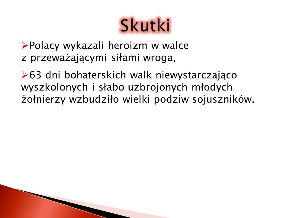 Skutki Polacy wykazali heroizm w walce z przeważającymi siłami wroga,